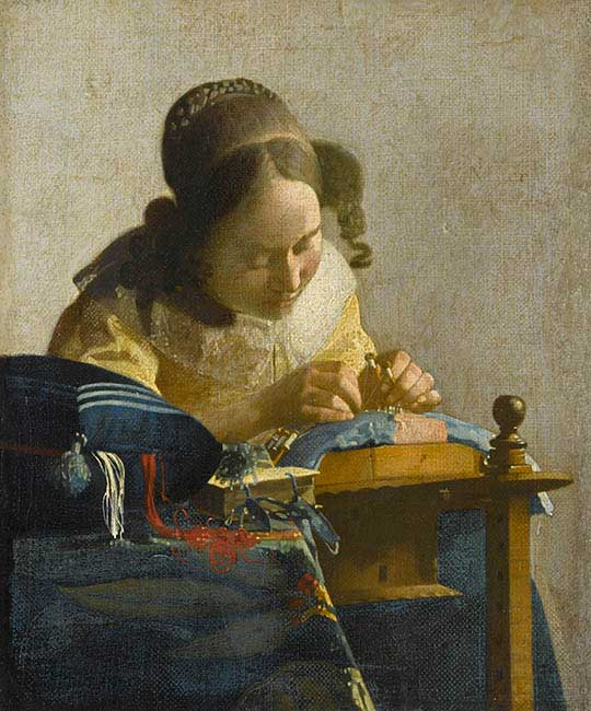 The Lacemaker, painting by Vermeer